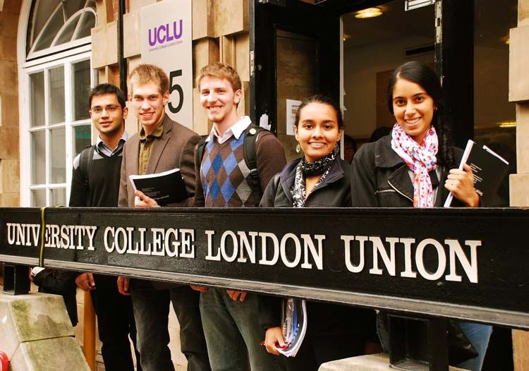 Students by University College London sign