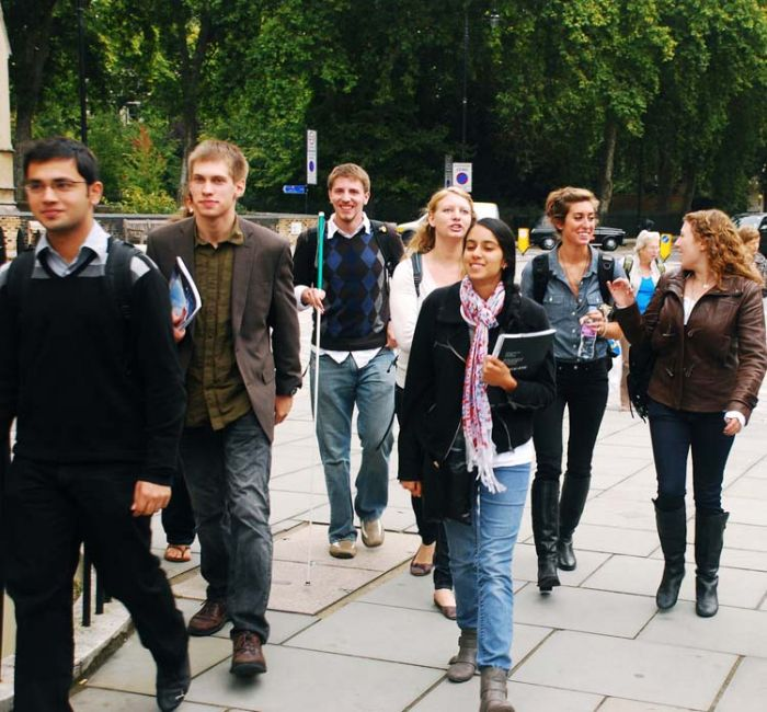London students walking to class
