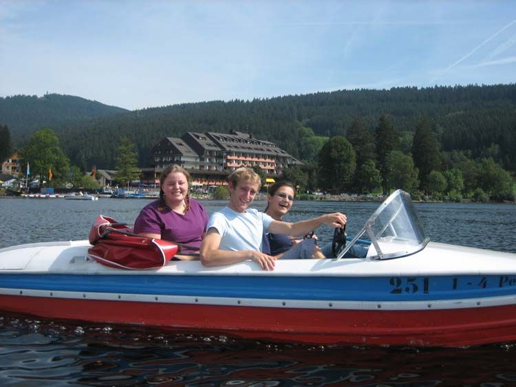 Students taking a boat ride