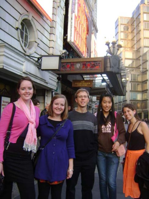 Group of London students in front of the theatre