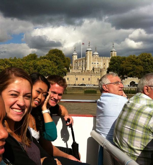 Students taking a bout tour down the Thames