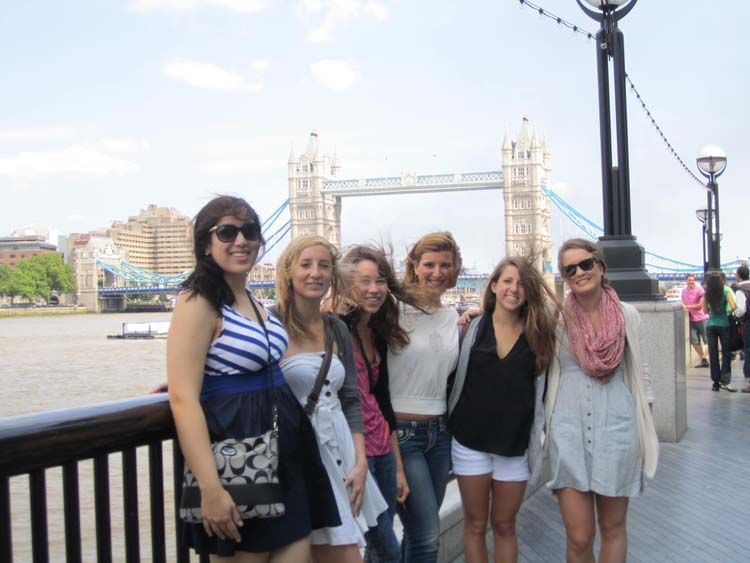 Group of students by the Tower Bridge