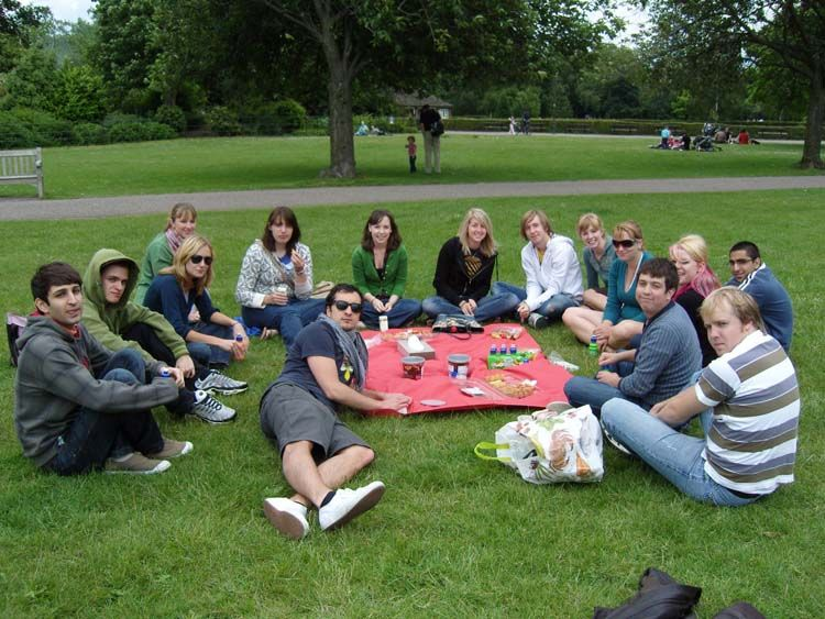 Having a picnic in the park