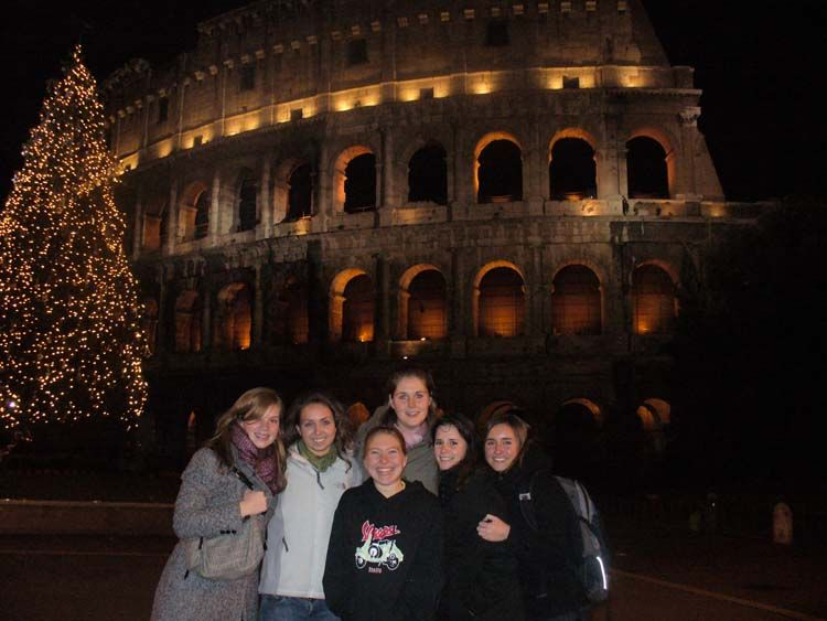 Outside of the Colosseum at night