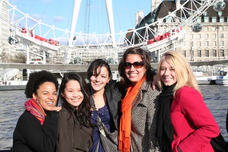 Students by the London Eye