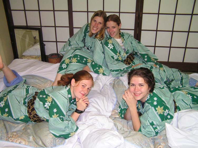 Students wearing tradition Japanese kimonos