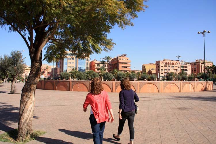 Students walking around Rabat
