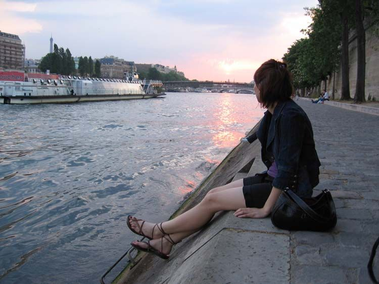 Sitting by the Seine river