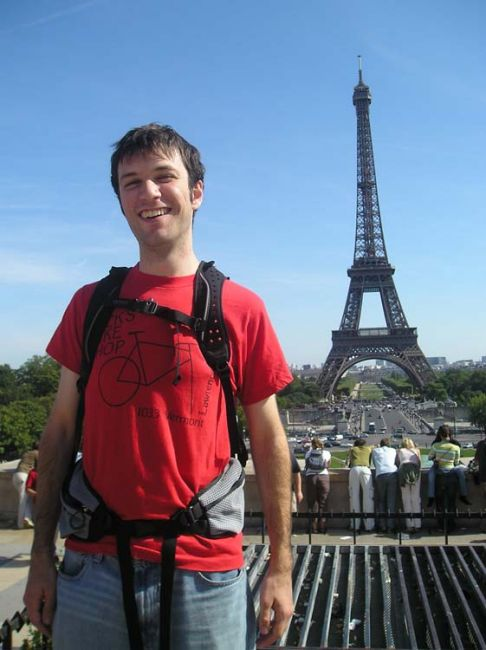Student by the Eiffel Tower
