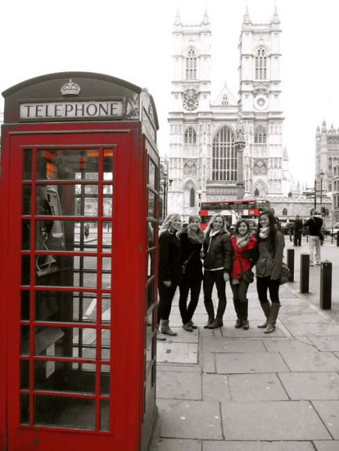 London students by red phone booth