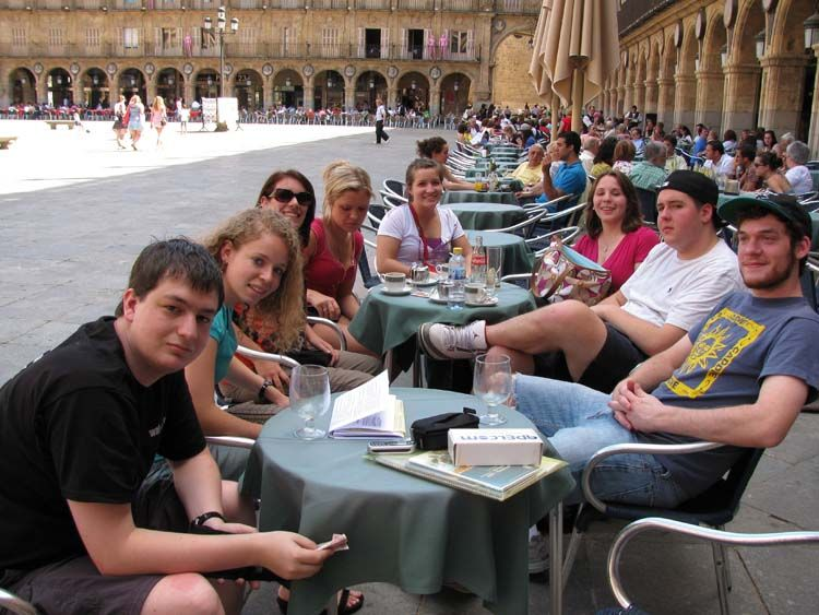 Students dining in the Plaza Mayor