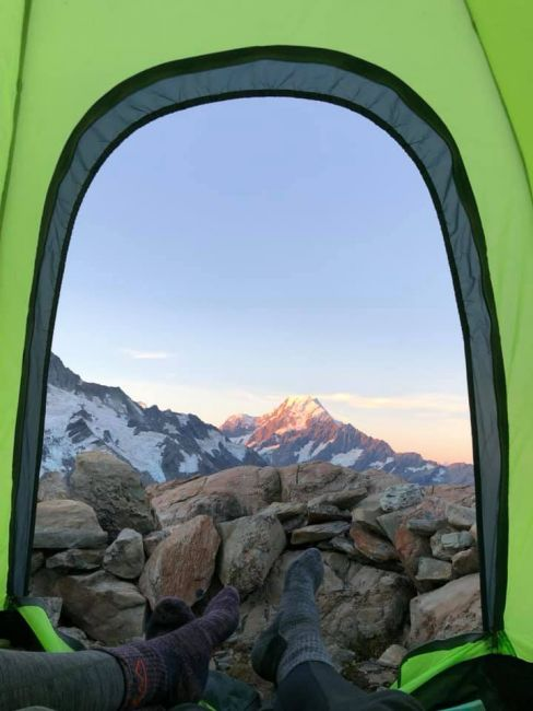 View from a tent in Aoraki/Mount Cook National Park