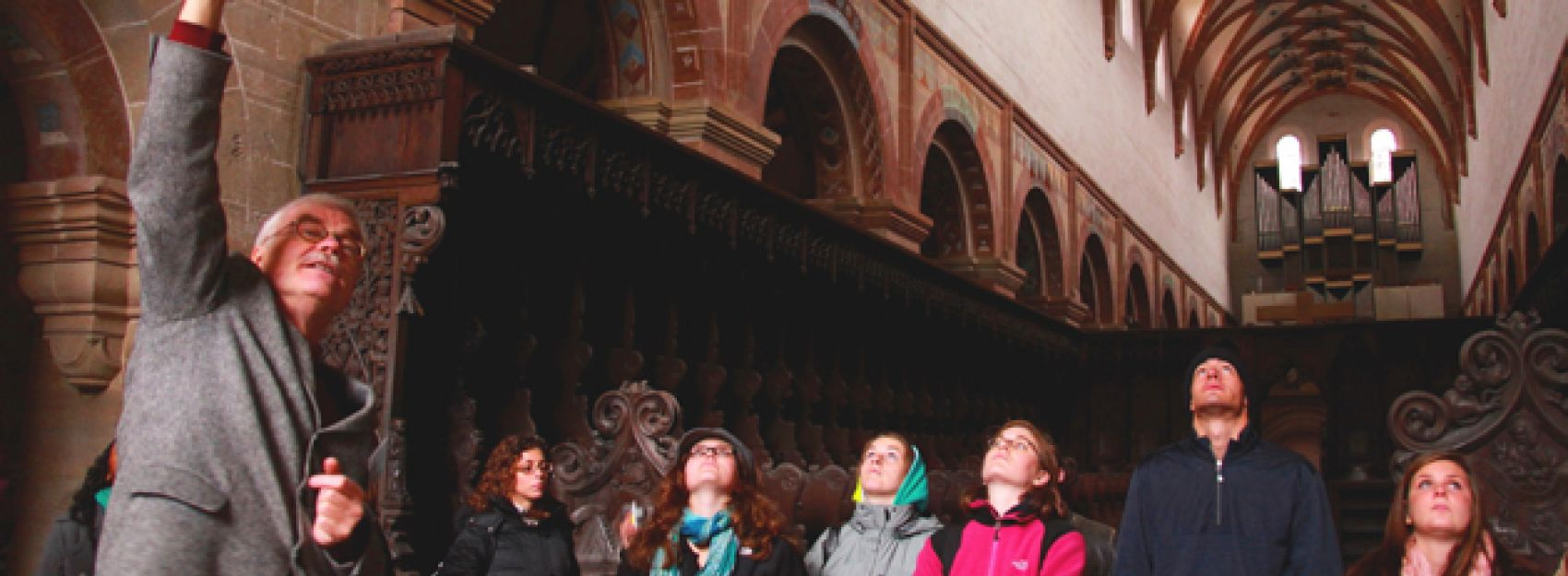 Students learning about architecture while studying abroad