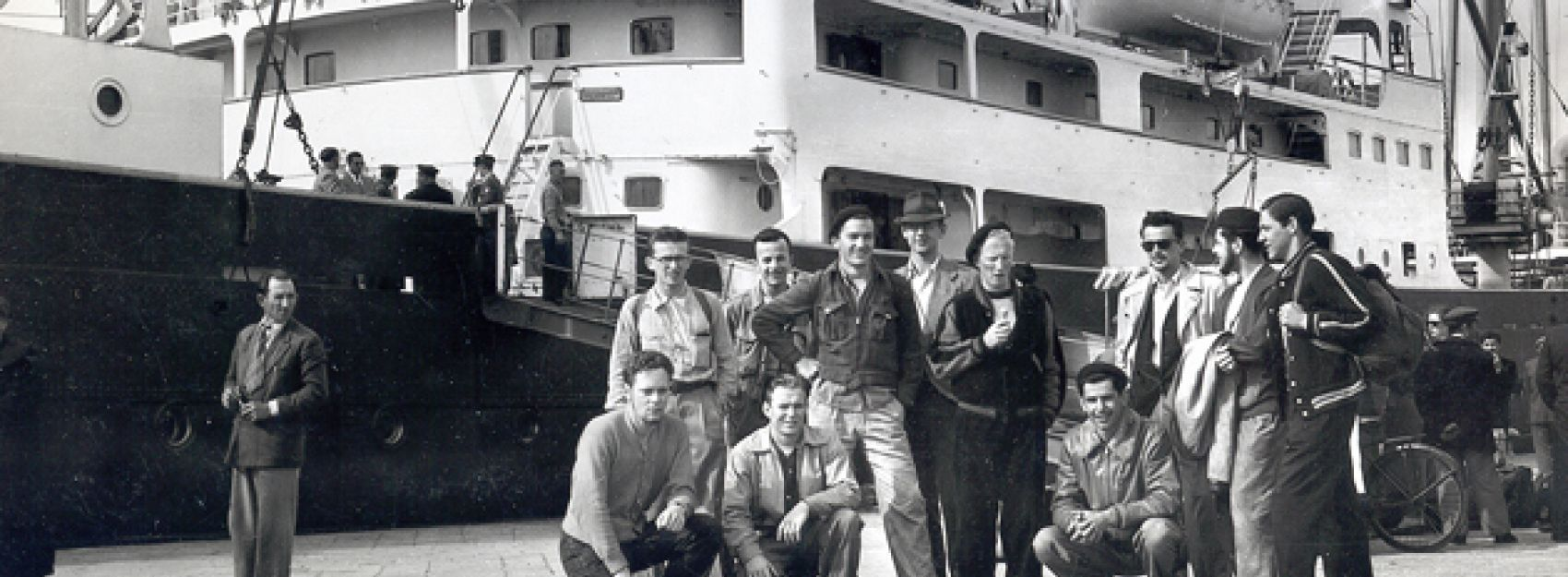 Students in front of boat in 1950