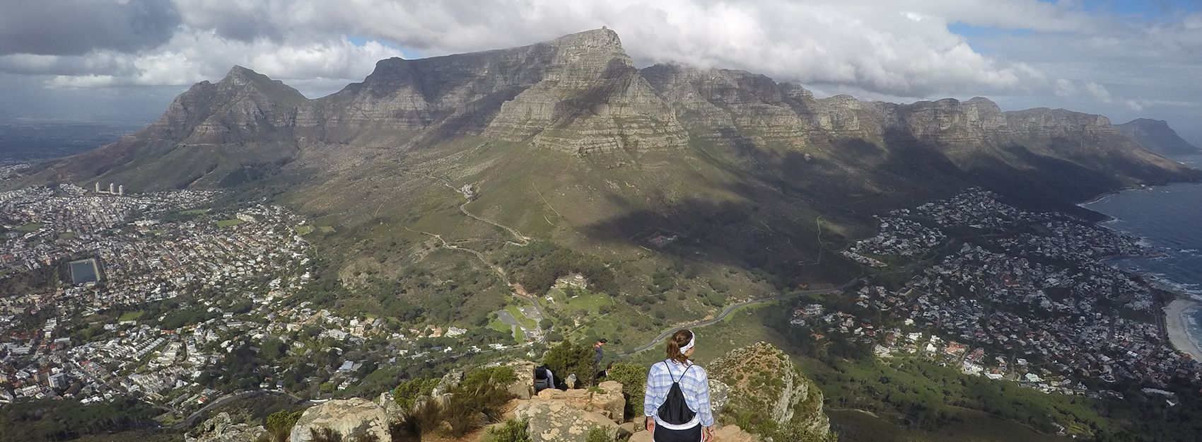IES Abroad Student overlooking Table Mountain and Cape Town South Africa