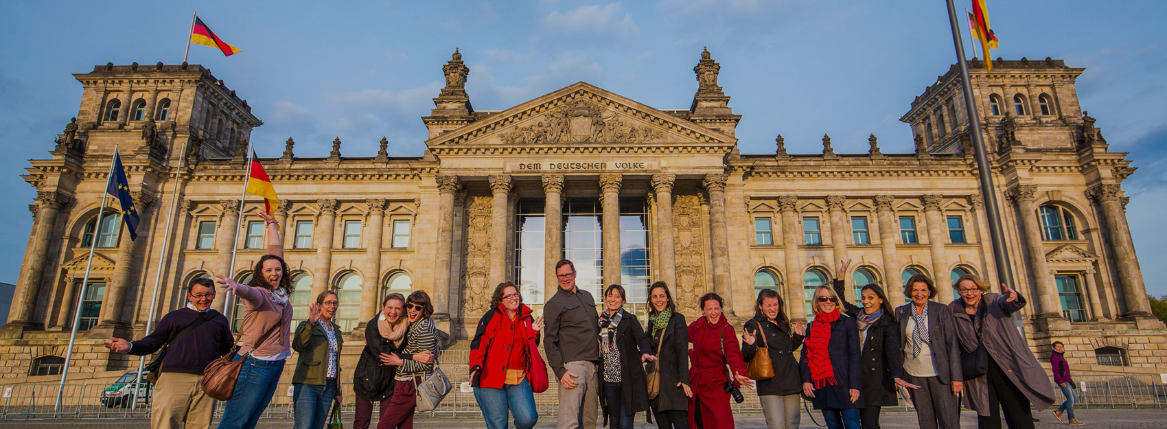 group in Berlin in front of a landmark