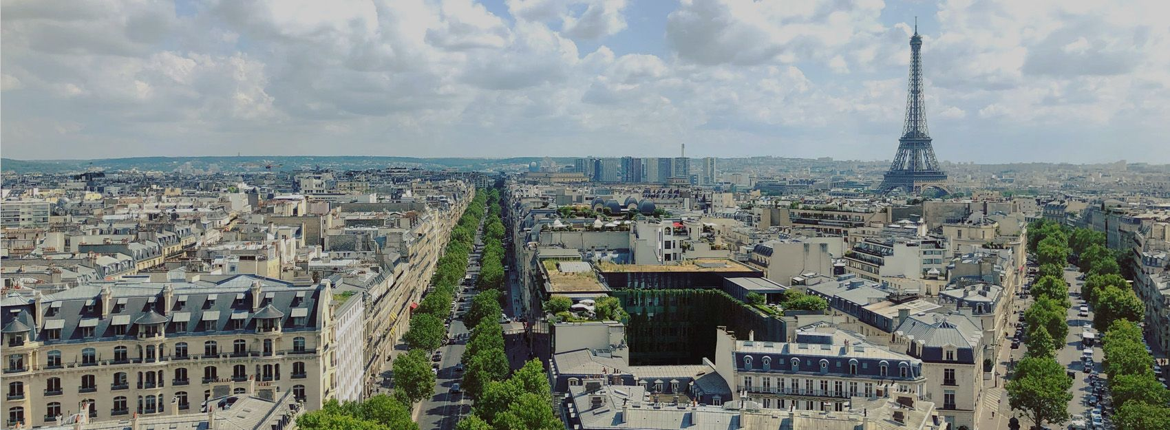 view of the eiffel tower from the arc de triomphe taken by paris study abroad student