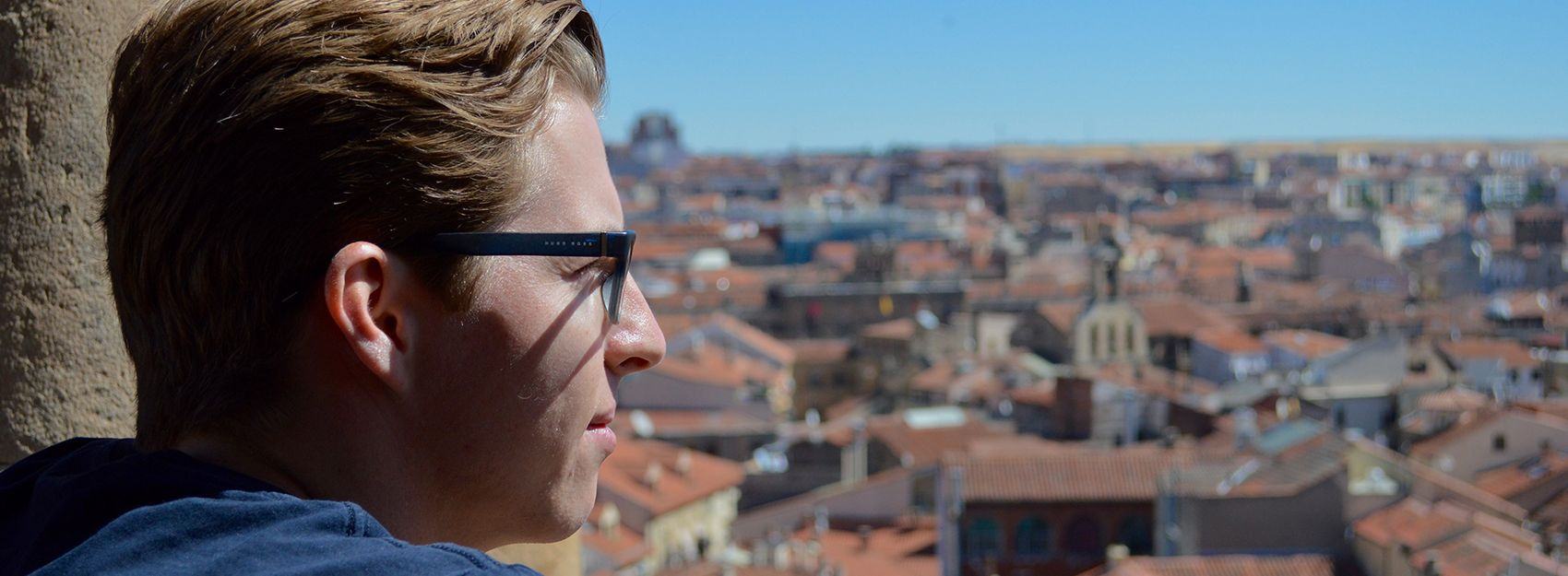 Student above the city in Spain