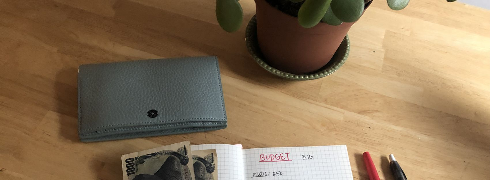 Wallet, currency, and budget in notebook next to pens on wooden table