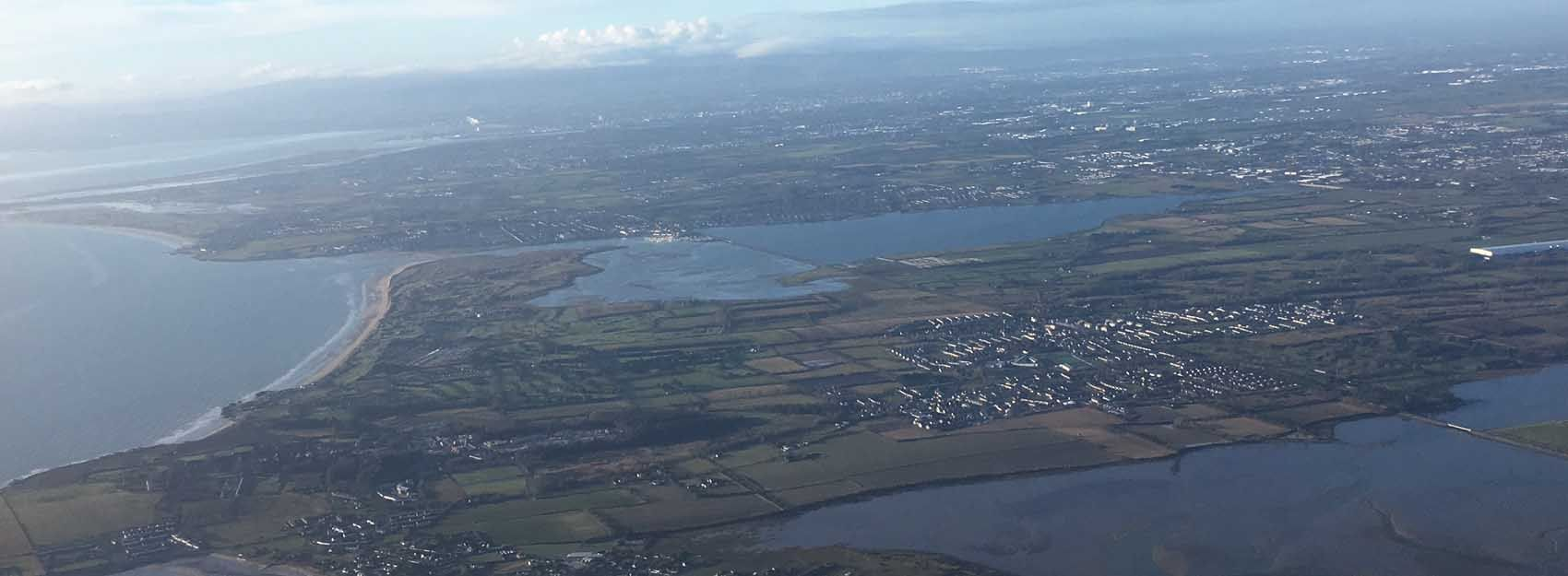 aerial view of Dublin from an airplane