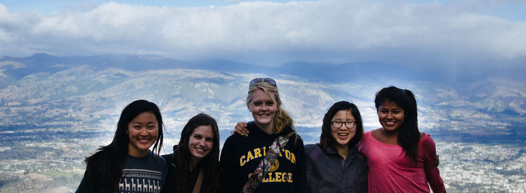 students standing in front of overlook of Quito