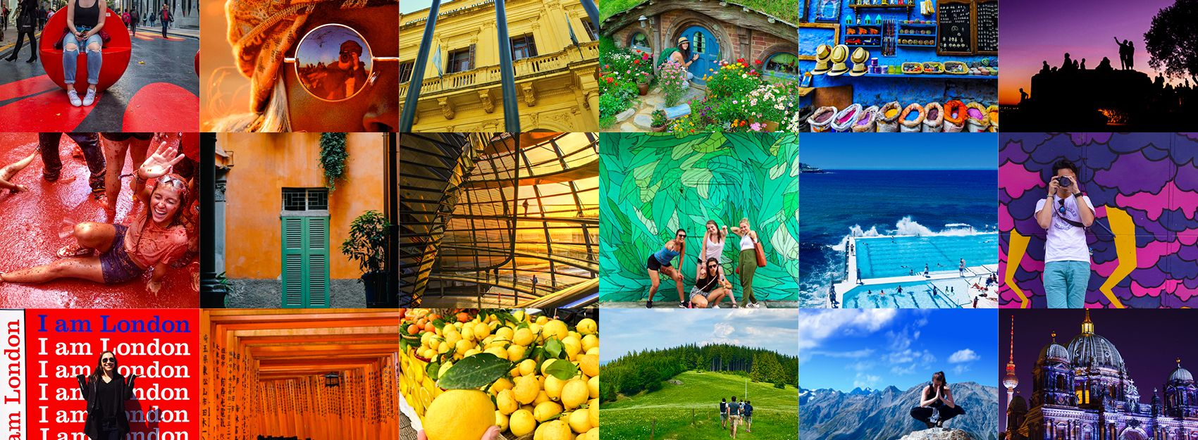 rainbow collage of study abroad students and landmarks around the world