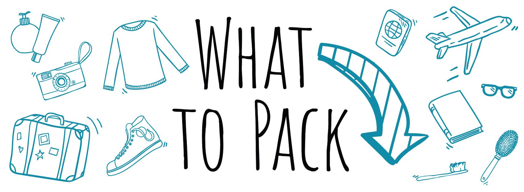 what to pack graphic with icons of travel items