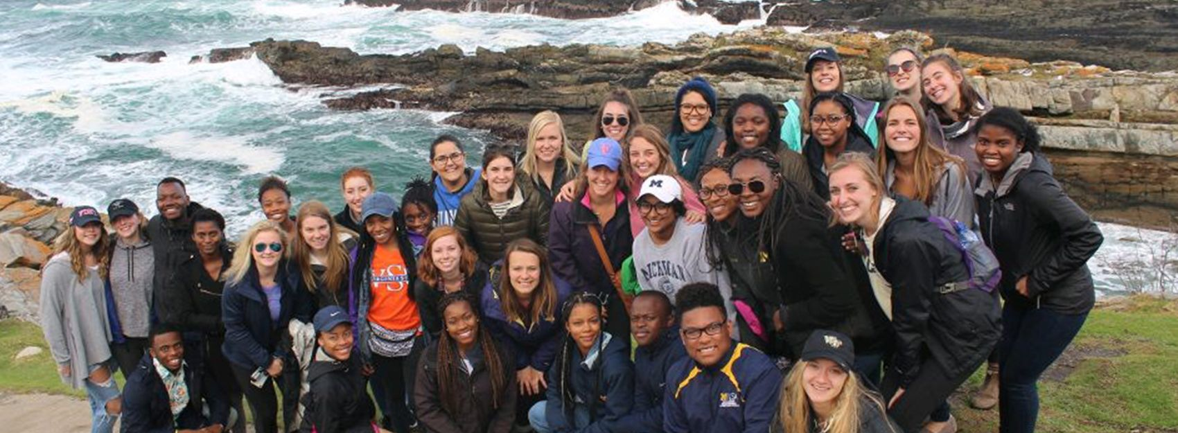 A group of IES Abroad Cape Town students at the coast