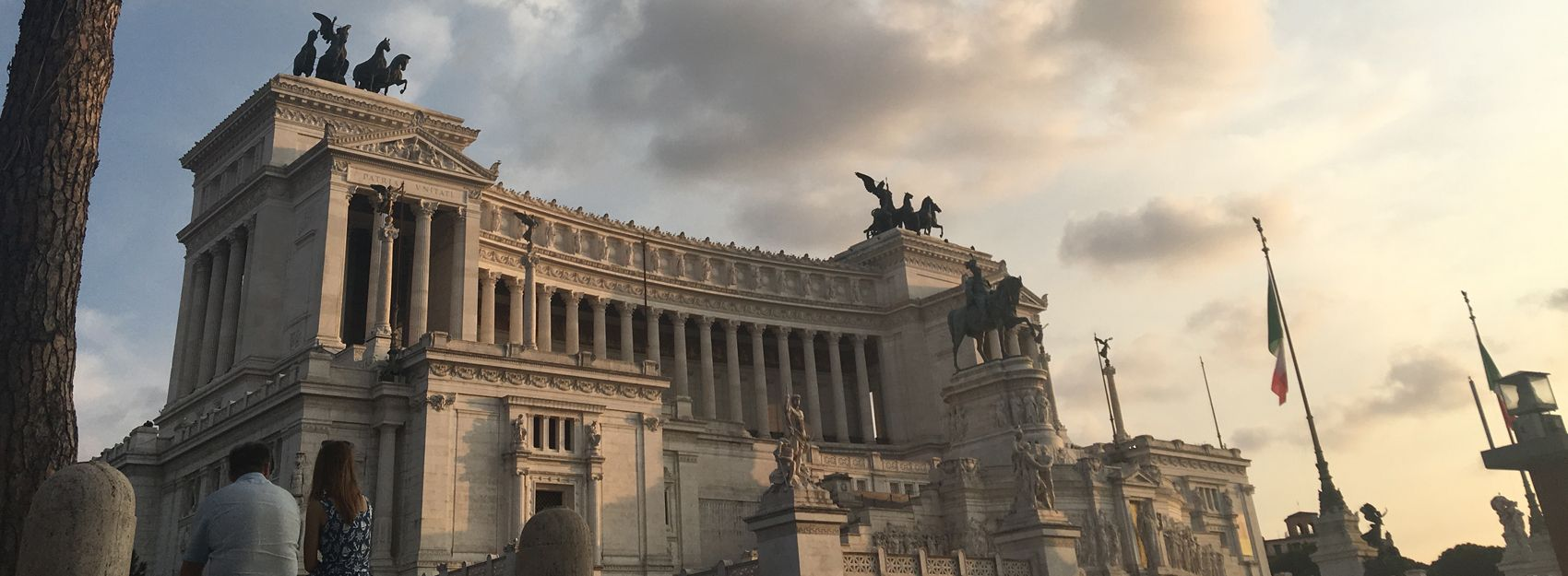 Monumento Nazionale in Rome with Italian Flag