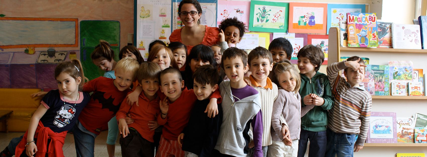 A Rome education student with her students