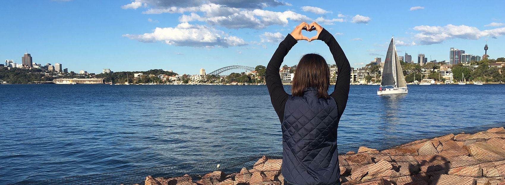 Sydney study abroad student by the Sydney Harbour
