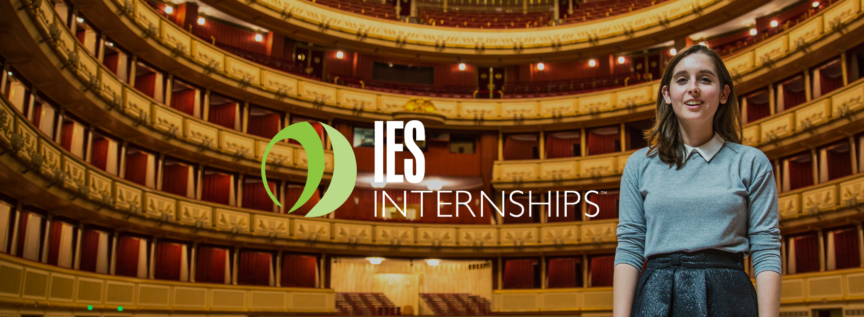IES Internships logo centered over photo of Female Intern in Vienna Opera House