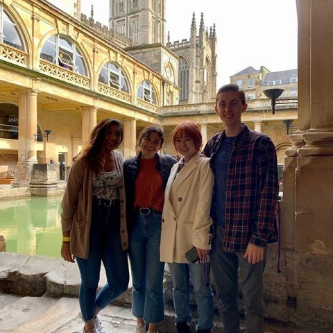 Bathing  in the glory of the @theromanbaths . . . Our Fall students exploring the world heritage city of #bath  including the ancient Roman Baths and hot springs dating back thousands of years! . . . #iesabroad #studyabroad #internabroad #bath #romanbaths