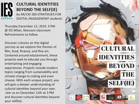"""Don't miss it! Come see with us the final project of AR/CM260 """"Strategies for digital engagement"""" students. #studyabroad #iesabroadmilan #iesabroad #finalsweek"""