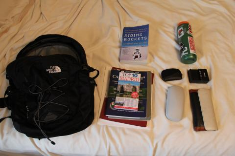 Everything I need in my backpack for the next week of travel minus my computer and camera!
