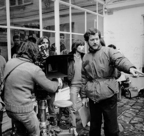 Willard Huyck at the filming of French Postcards