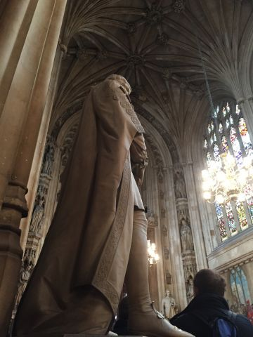 A statue inside the Houses of Parliament