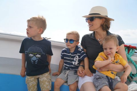 This a picture from our recent holiday to the South West of the UK and I'm enjoying a wee boatride with my boys.