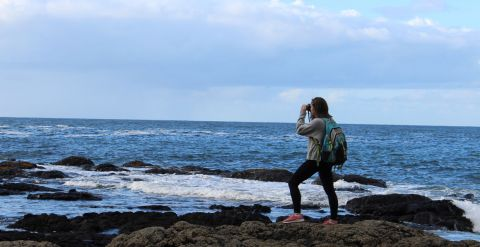 Student standing on rocks taking picture of water at Giants Causeway in Northern Ireland