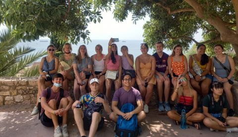 Group of University of Kansas Study Abroad Students outside in Spain