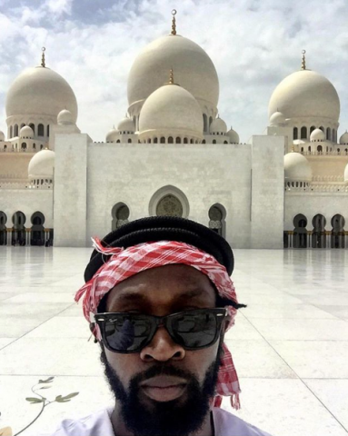 Visiting the Grand Mosque in Abu Dhabi, UAE.