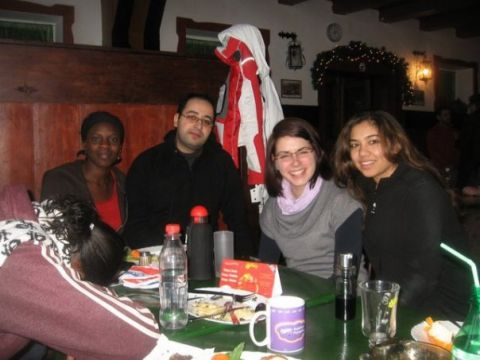 During a Winter School in the Somatnia Mountains (National Parc) with classmates from India, Germany and Kenya.