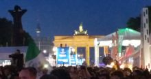 Blurry picture of the Brandenburger Tor during the soccer festivities