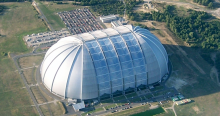 A picture of the airplane hanger as seen from above