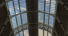 Blue sky through the windows of the National Museum of Scotland in Edinburgh