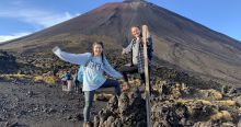 In front of a volcano