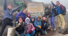 A group of IES Abroad students at the basecamp of Cotopaxi volcano.
