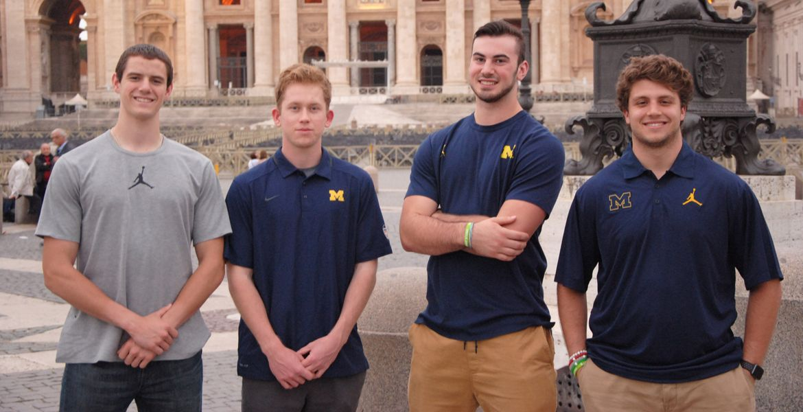 university of michigan students standing in front of building in Rome