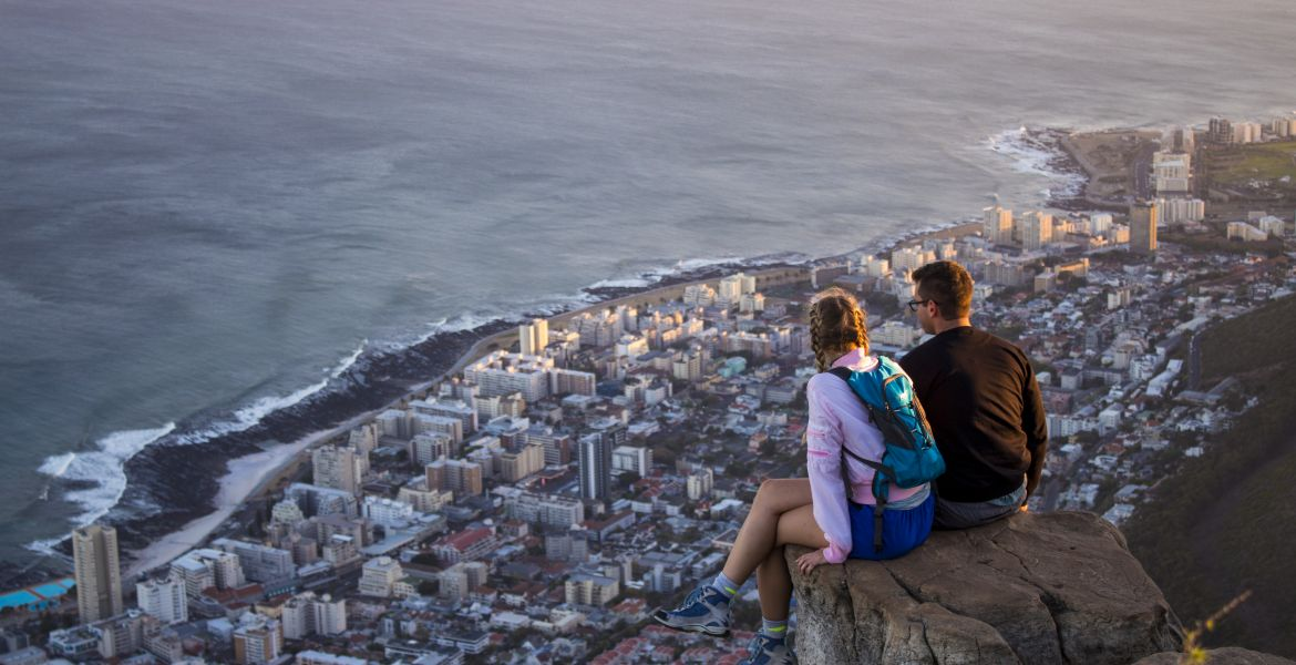 two students overlooking cape town city scape