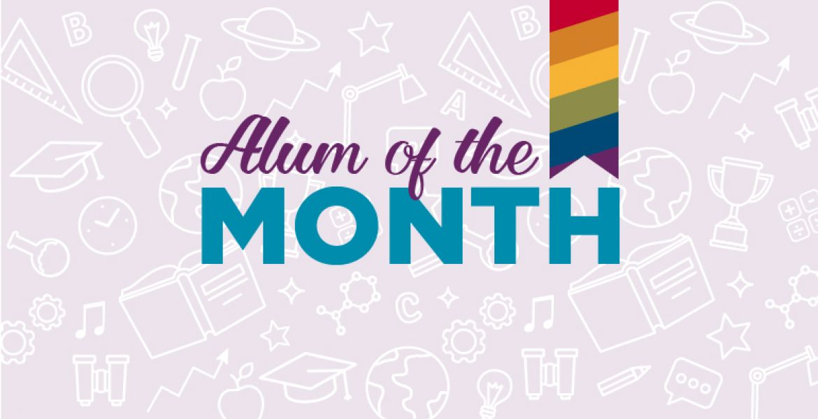 alum of the month on purple background with rainbow lgbtq+ ribbon